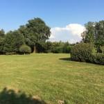 Het terrein met boomschommel achter gastenverblijf in de zomer gezien vanaf de vijver achter het woonhuis.